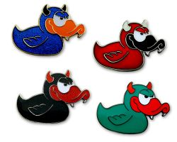 Devil-Duck Geocoin Collector Set (4 Geocoins) - identic. serial number