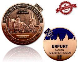 Erfurt Geocoin Antik Kupfer - BLAU XLE 50