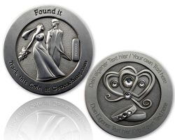 Wedding Geocoin with your Engraving - Antique Silver