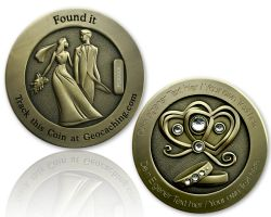 Wedding Geocoin with your Engraving - Antique Gold