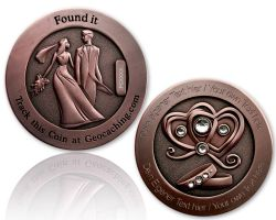 Wedding Geocoin with your Engraving - Antique Copper