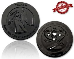 Wedding Geocoin with your Engraving - Black Nickel XLE 50
