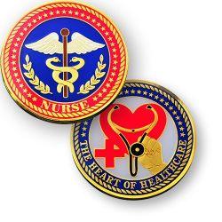 Nurse (Krankenpfleger) Geocoin Poliertes Gold