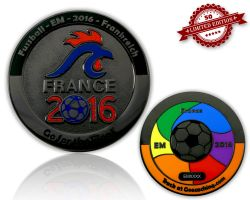 Fussball EM 2016 Geocoin Black Nickel XLE 50