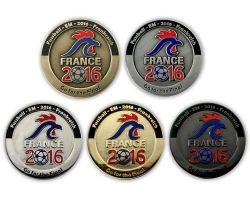 Fussball EM 2016 Geocoin Sammler SET (5 COINS) - komplett limitiert