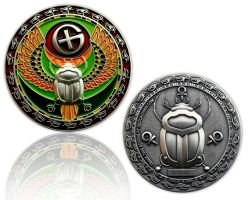 Scarab Geocoin Antique Silver