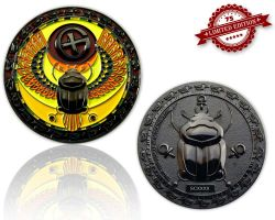 Scarab Geocoin Black Nickel XLE 75