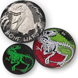 Bone Wars Geocoin Black Nickel / Silber - Glow