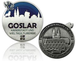 Goslar Geocoin Antique Silver - BLUE