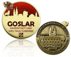 Goslar Geocoin Antique Gold - RED