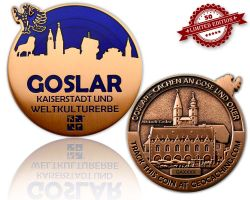 Goslar Geocoin Antique Copper - BLUE XLE 50