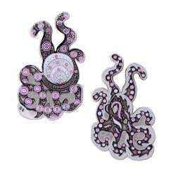 Funky Octopus Geocoin Poliertes Silber