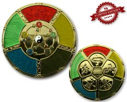 Feng Shui Geocoin Poliertes Gold XLE 75