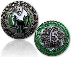 Moun10Bike 15 Year Tribute Geocoin Antik Silber