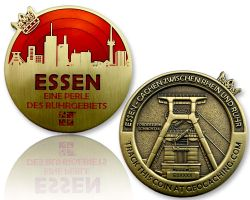 Essen Geocoin Antique Gold - RED