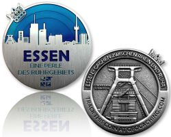 Essen Geocoin Antique Silver - BLUE