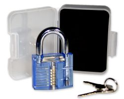 Lockpicking training lock - blue / transparent