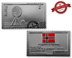 Geocacher's World Geocoin -NORWAY- Satin Silber XLE 75