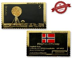 Geocacher's World Geocoin -NORWAY- Black Nickel / Gold XLE 75