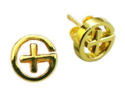 Geocaching Ear Stud (Pair) - Gold