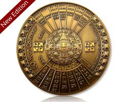 50 J?hriger Kalender XXXL Geocoin V2 Antik Gold (opt. mit Gravur)
