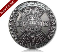 50 J?hriger Kalender XXXL Geocoin V2 Antik Silber (opt. mit Gravur)