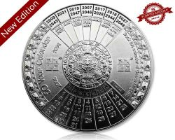 50 Years Calendar XXXL Geocoin V2 Polished Silver (available with engraving)