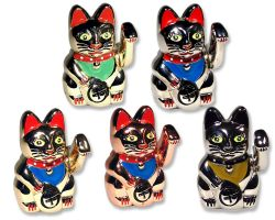 Beckoning Cat Geocoin Figure - Collector SET (5 COINS)
