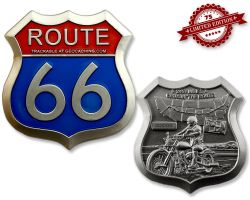 Route 66 Geocoin Satin Silber XLE 75