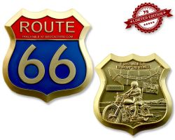 Route 66 Geocoin Satin Gold XLE 75