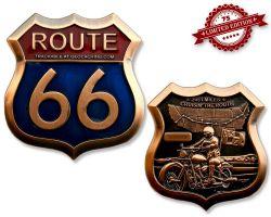 Route 66 Geocoin Antik Kupfer XLE 75