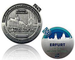 Erfurt Geocoin Antik Silber - BLAU
