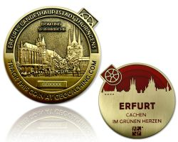 Erfurt Geocoin Antique Gold - RED