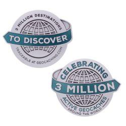 3 Million Geocaches Geocoin - Antik Silber XL (ca. 70 mm Durchmesser)