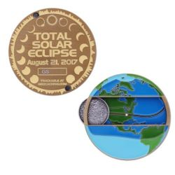 Solar Eclipse 2017 Geocoin Antique Gold (moving parts)