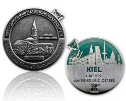 Kiel Geocoin Antik Silber - BLAU