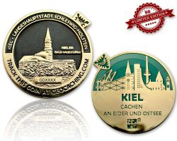Kiel Geocoin Poliertes Gold / Black Nickel - GRUEN XLE 50
