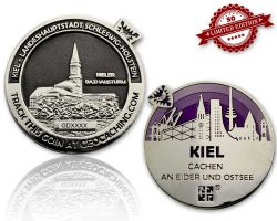 Kiel Geocoin Poliertes Silber / Black Nickel - LILA XLE 50