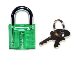 Mini Lockpicking training lock - transparent / green