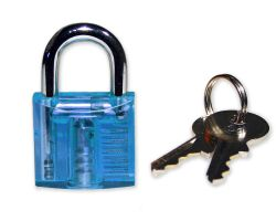 Mini Lockpicking Übungsschloss transparent / blau