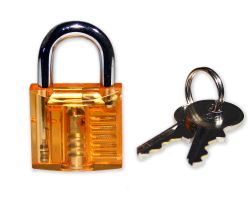 Mini Lockpicking Übungsschloss transparent / orange
