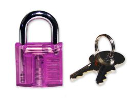 Mini Lockpicking Übungsschloss transparent / pink