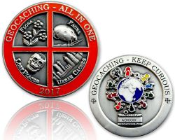 Geocaching - All In One Geocoin 2017 Antique Silver (available with engraving)