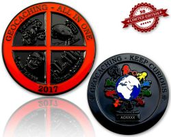 Geocaching - All In One Geocoin 2017 Black Nickel XLE 50 (mit Gravur erhältlich)