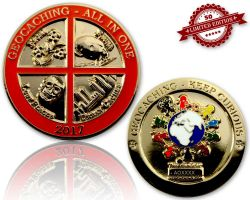 Geocaching - All In One Geocoin 2017 Pol. Gold XLE 50 (mit Gravur erhältlich)