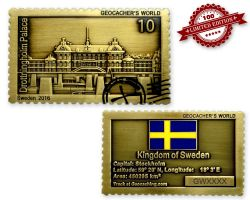 Geocacher's World Geocoin -SWEDEN- Antik Gold LE 100