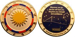 Sign of the Zodiac Geocoin Poliertes Gold XLE