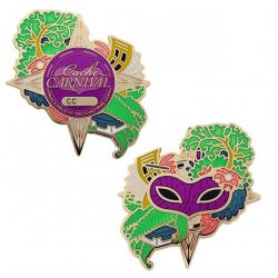 Cache Carnival Geocoin + Trackable Tag Set (2 TRACKABLES)