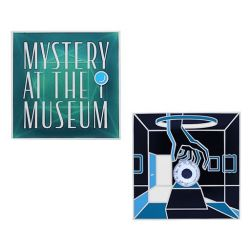 Mystery at the Museum Geocoin + Tag Set (2 Trackables)