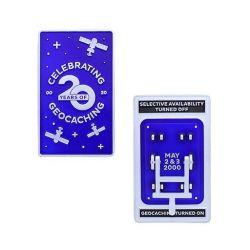 20 Jahre Geocaching - Blue Switch Geocoin (beweglicher Hebel)